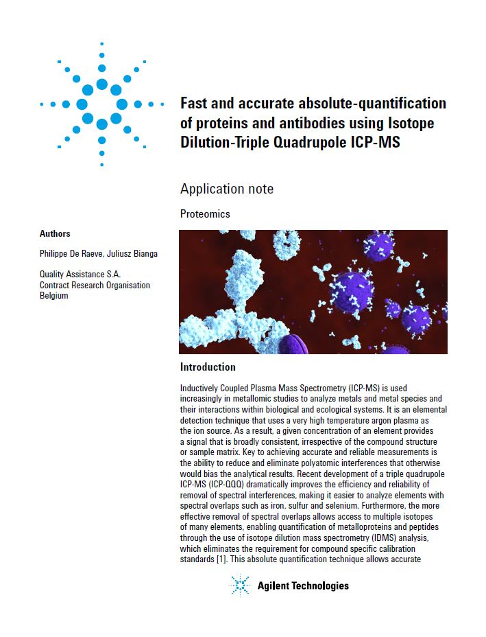 Fast and accurate absolute-quantification of proteins and antibodies using Isotope Dilution-Triple Quadrupole ICP-MS