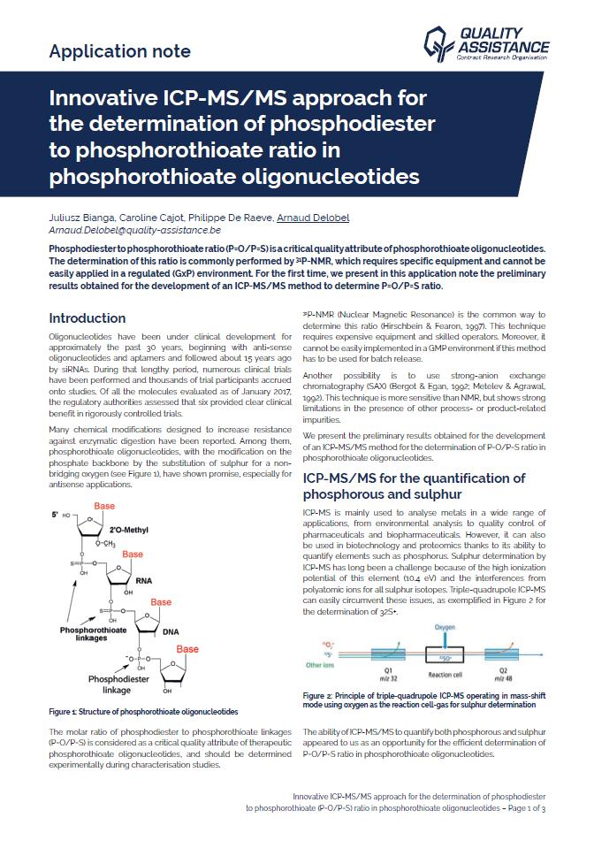 Oligonucleotides Application Note Quality Assistance Absolute Quantification