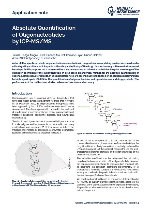 Absolute Quantification of Oligonucleotides by ICP-MSMS
