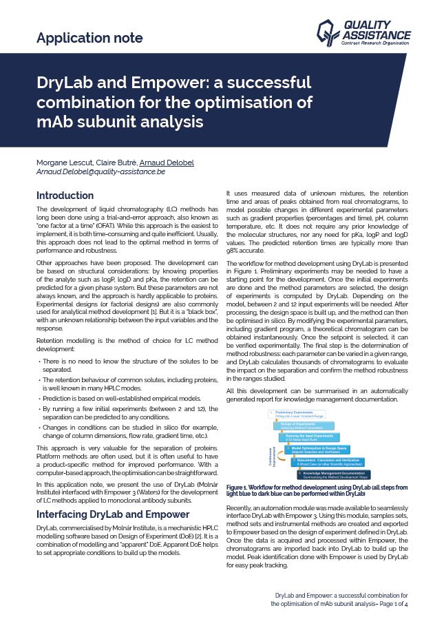 DryLab and Empower: a successful combination for the optimisation of mAb subunit analysis