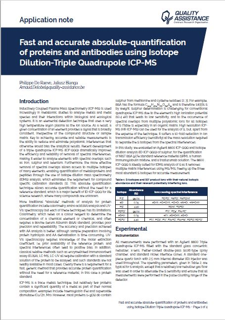 Fast and accurate absolute quantification of antibodies and antibody-drug conjugate using Isotope Dilution-Triple Quadrupole ICP-MS